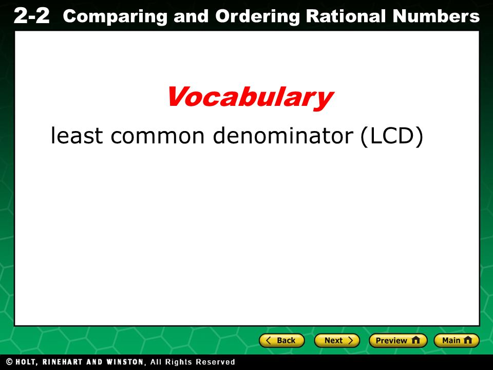 Vocabulary least common denominator (LCD)