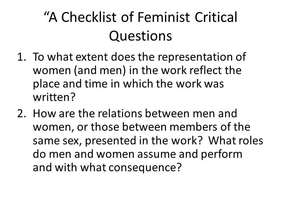 A Checklist of Feminist Critical Questions