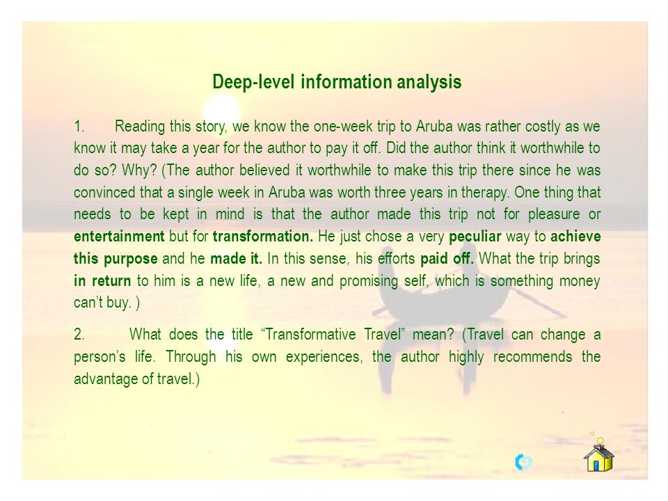 Deep-level information analysis