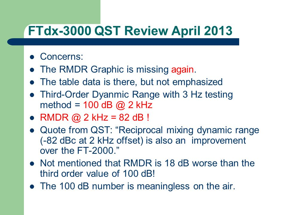 FTdx-3000 QST Review April 2013 Concerns: