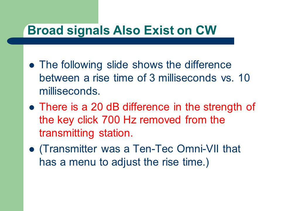 Broad signals Also Exist on CW