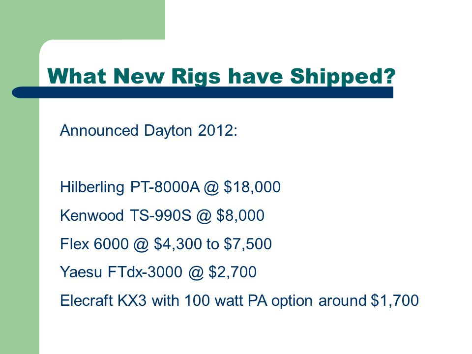What New Rigs have Shipped