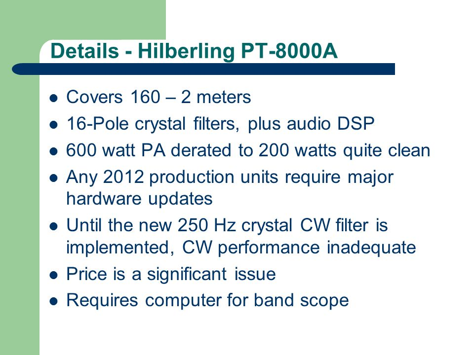 Details - Hilberling PT-8000A