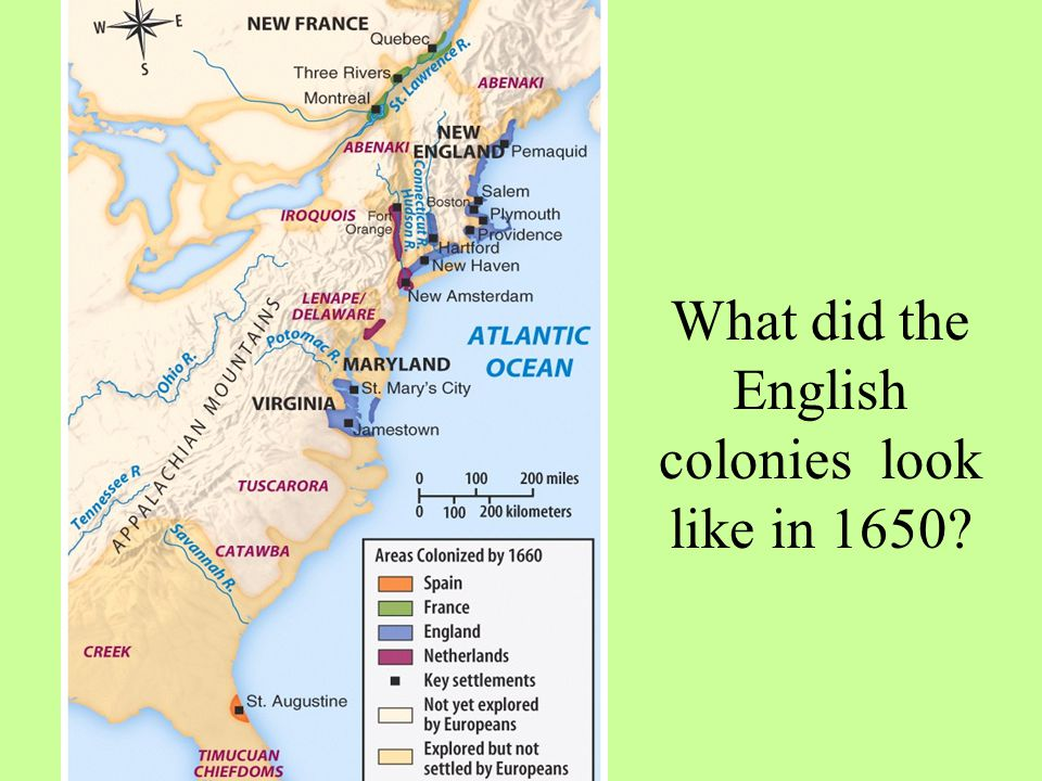 What did the English colonies look like in 1650