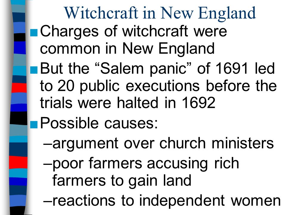 a discussion on the causes of the salem witch trials from 1692 The salem witch trials of 1692 were a dark time in american history  the exact  cause of the salem witch trials is unknown but they were  the clergy later held  a meeting, on august 1, to discuss the trials but were not.