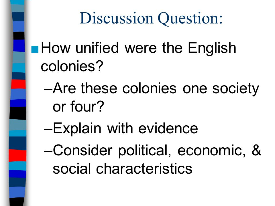 Discussion Question: How unified were the English colonies