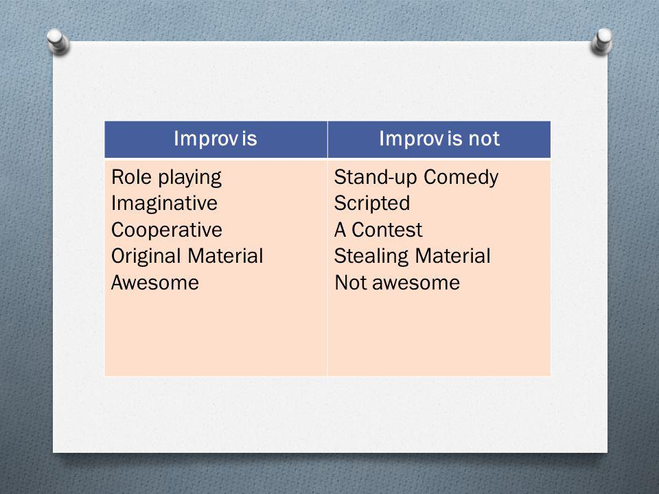 Improv is Improv is not. Role playing. Imaginative. Cooperative. Original Material. Awesome. Stand-up Comedy.