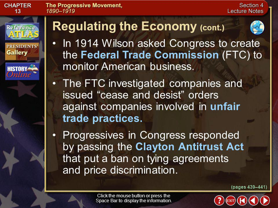 Regulating the Economy (cont.)
