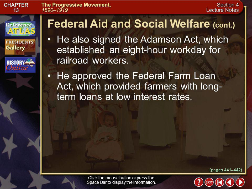 Federal Aid and Social Welfare (cont.)