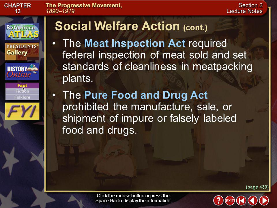 Social Welfare Action (cont.)