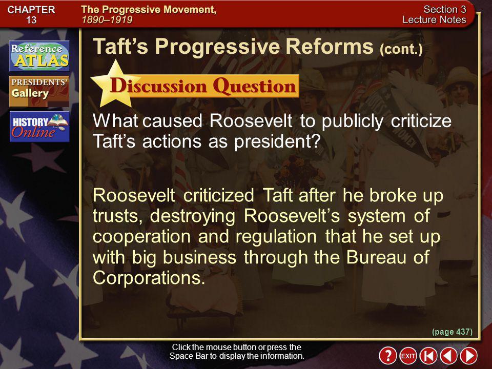Taft's Progressive Reforms (cont.)