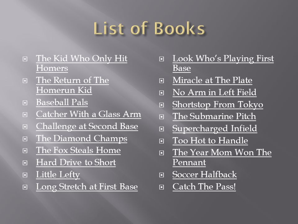 List of Books The Kid Who Only Hit Homers