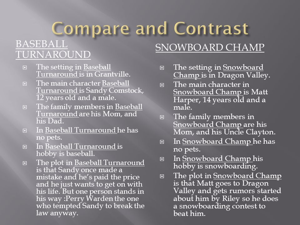 Compare and Contrast BASEBALL TURNAROUND SNOWBOARD CHAMP