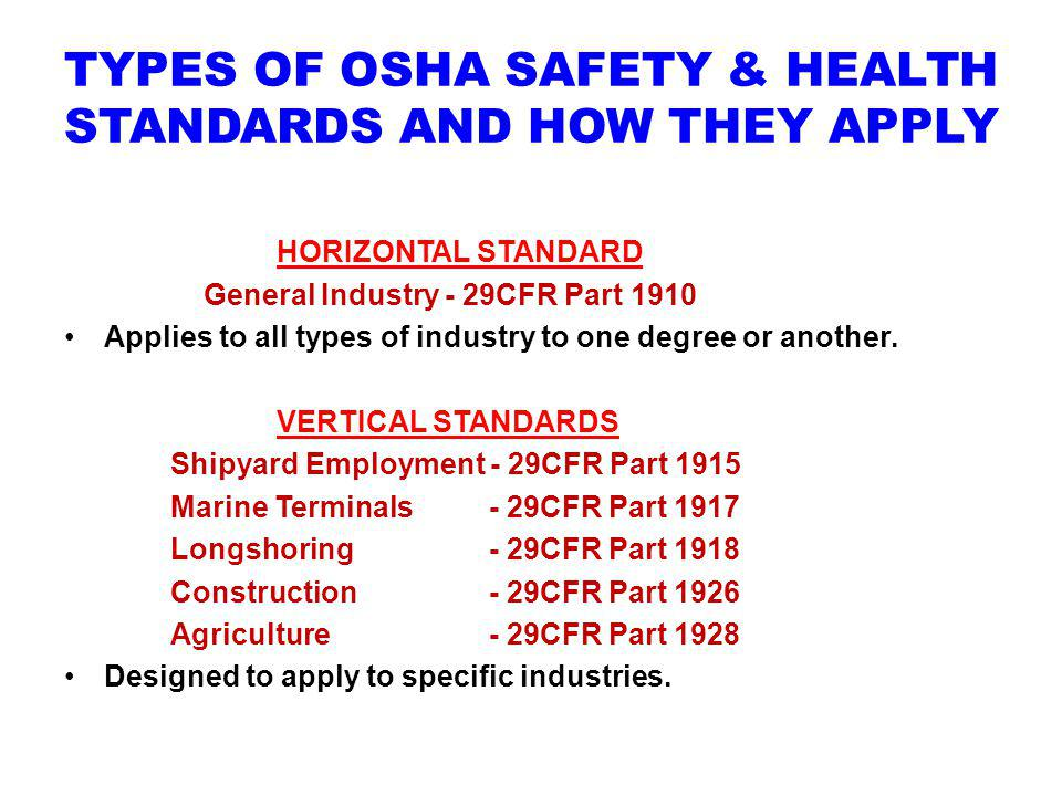 TYPES OF OSHA SAFETY & HEALTH STANDARDS AND HOW THEY APPLY