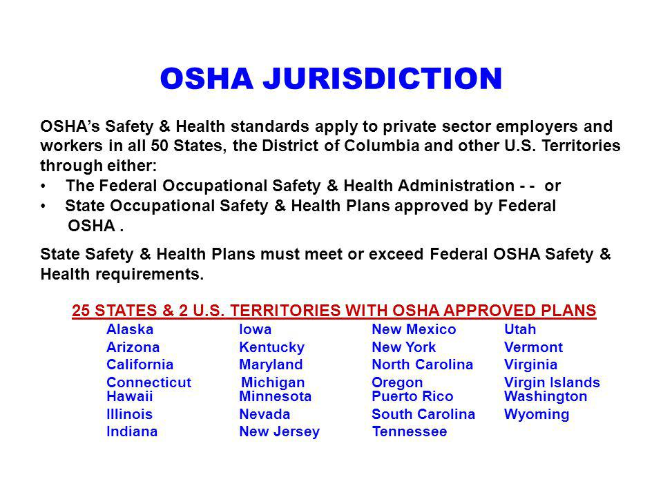 25 STATES & 2 U.S. TERRITORIES WITH OSHA APPROVED PLANS