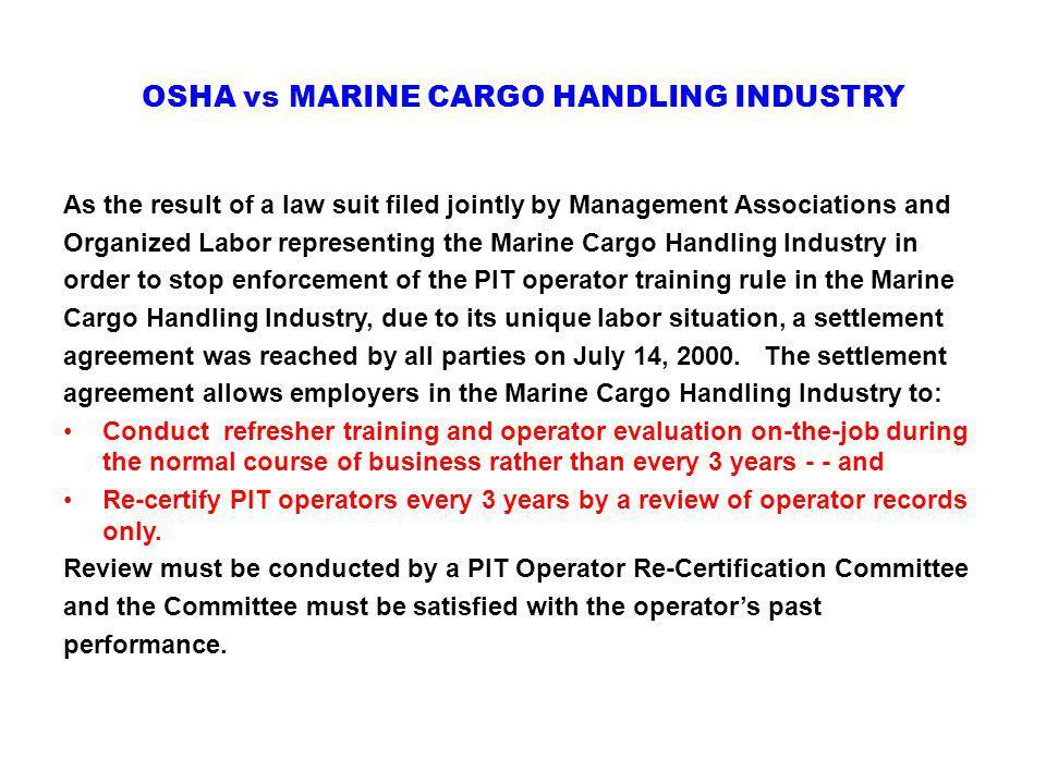 OSHA vs MARINE CARGO HANDLING INDUSTRY