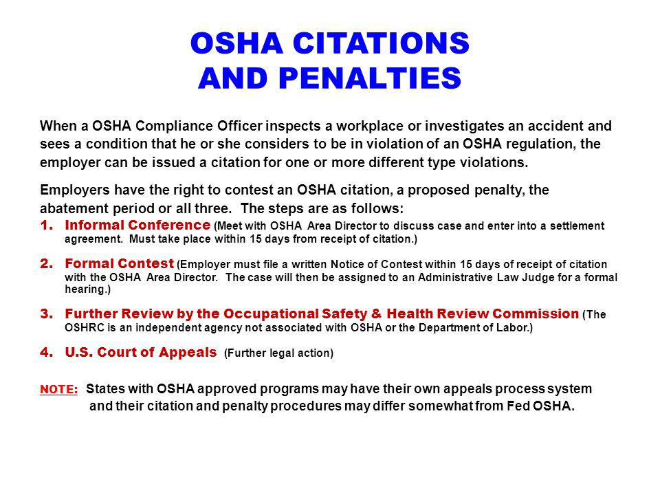 OSHA CITATIONS AND PENALTIES