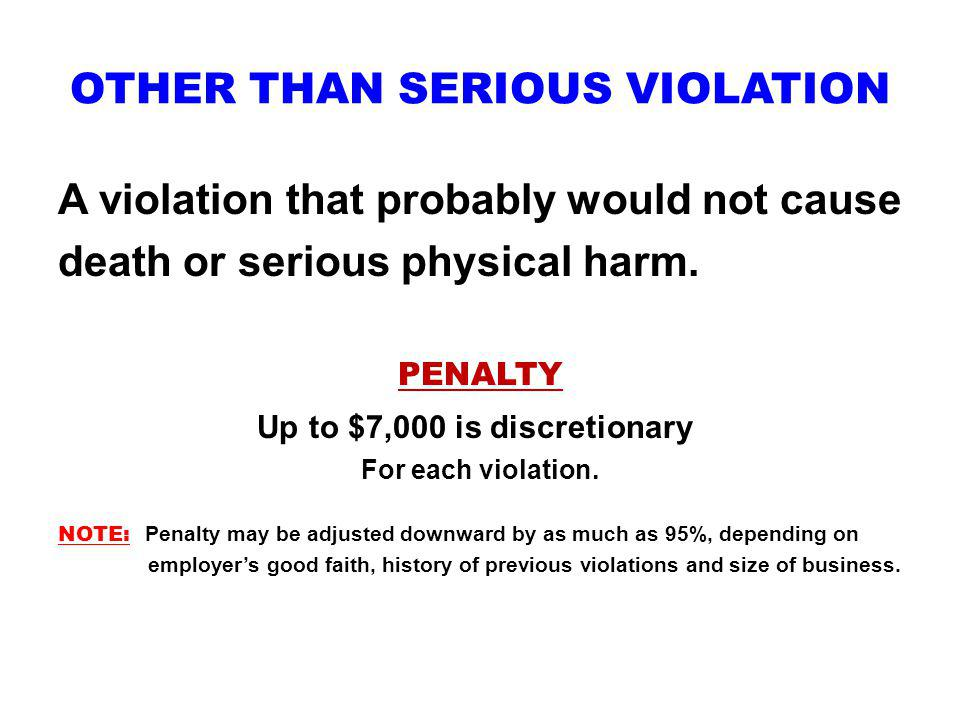 OTHER THAN SERIOUS VIOLATION