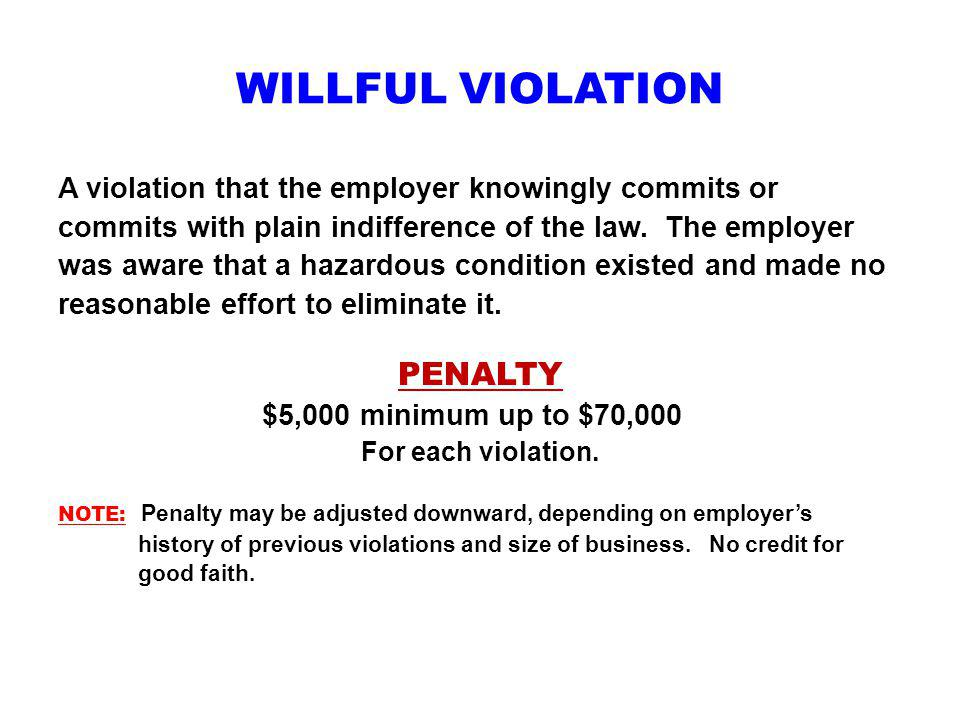 WILLFUL VIOLATION PENALTY