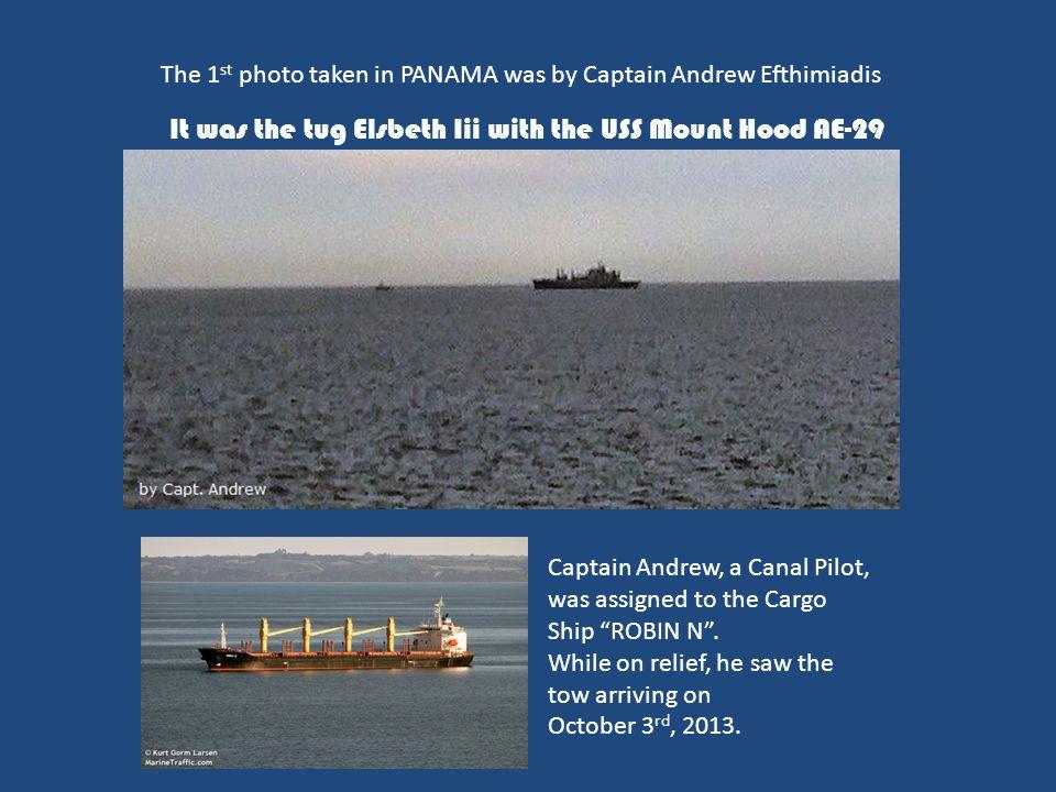 It was the tug Elsbeth Iii with the USS Mount Hood AE-29