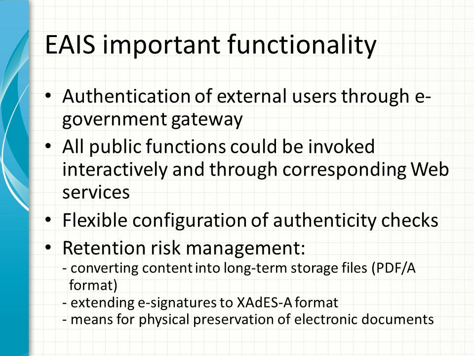 EAIS important functionality