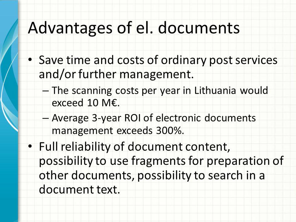 Advantages of el. documents