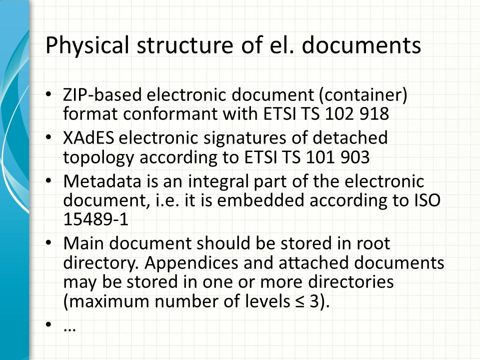Physical structure of el. documents