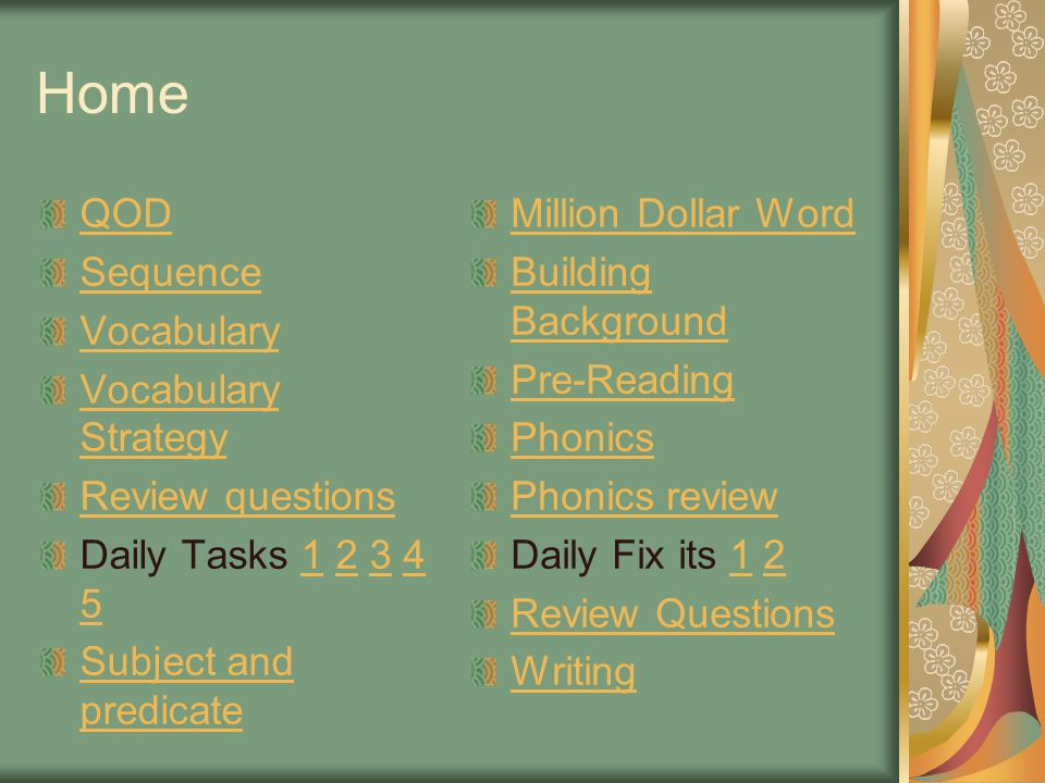 Home QOD Sequence Vocabulary Vocabulary Strategy Review questions