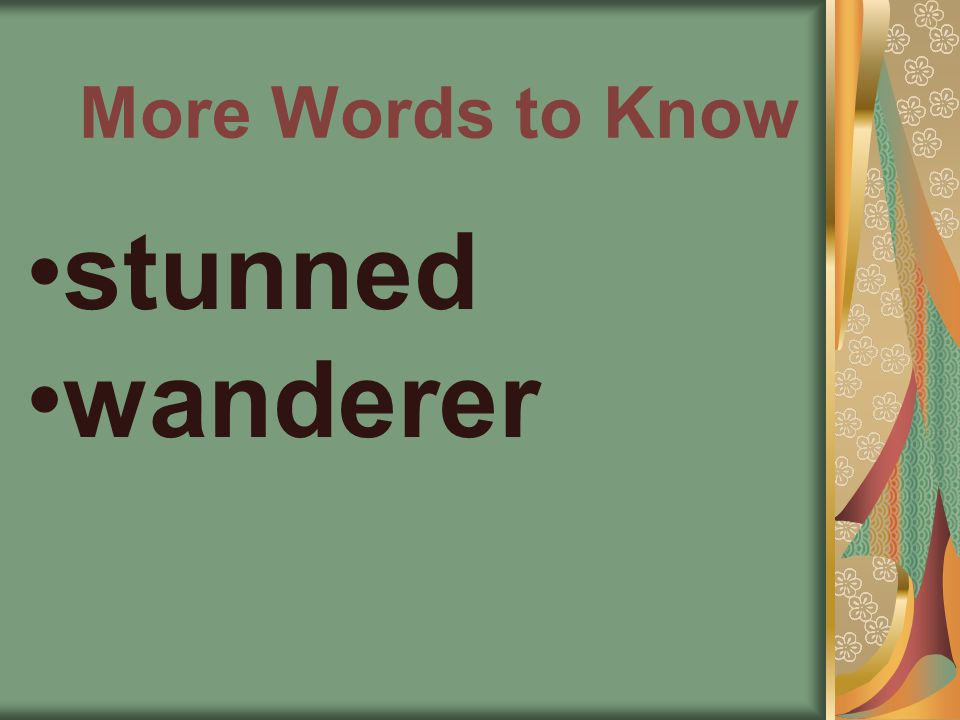 More Words to Know stunned wanderer
