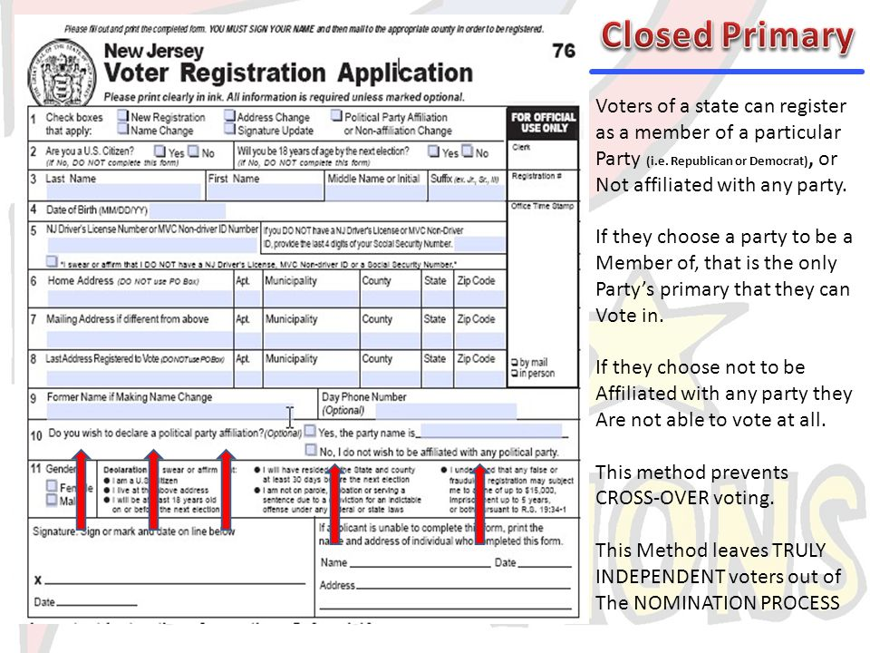 Closed Primary Voters of a state can register