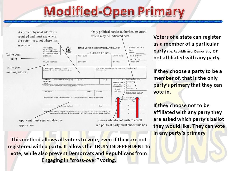 Modified-Open Primary Engaging in cross-over voting.
