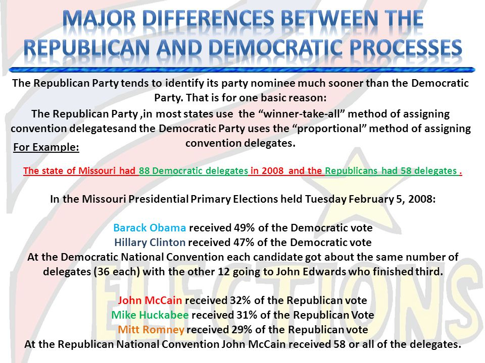 Major differences between the republican and democratic processes
