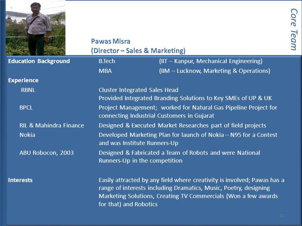 Core Team Pawas Misra (Director – Sales & Marketing)