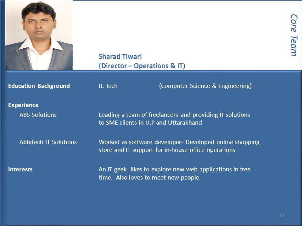 Core Team Sharad Tiwari (Director – Operations & IT)
