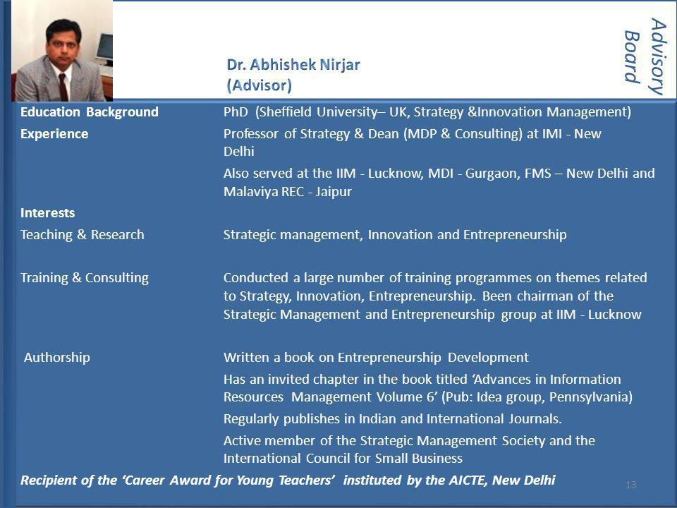 Advisory Board Dr. Abhishek Nirjar (Advisor)