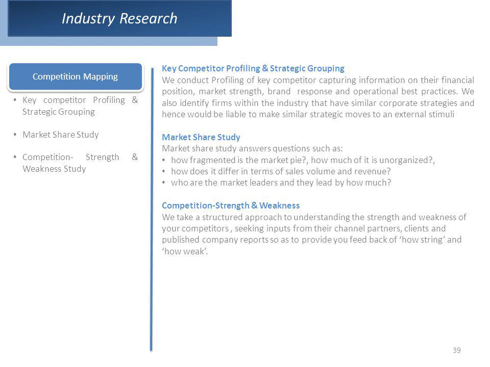 Industry Research Key Competitor Profiling & Strategic Grouping