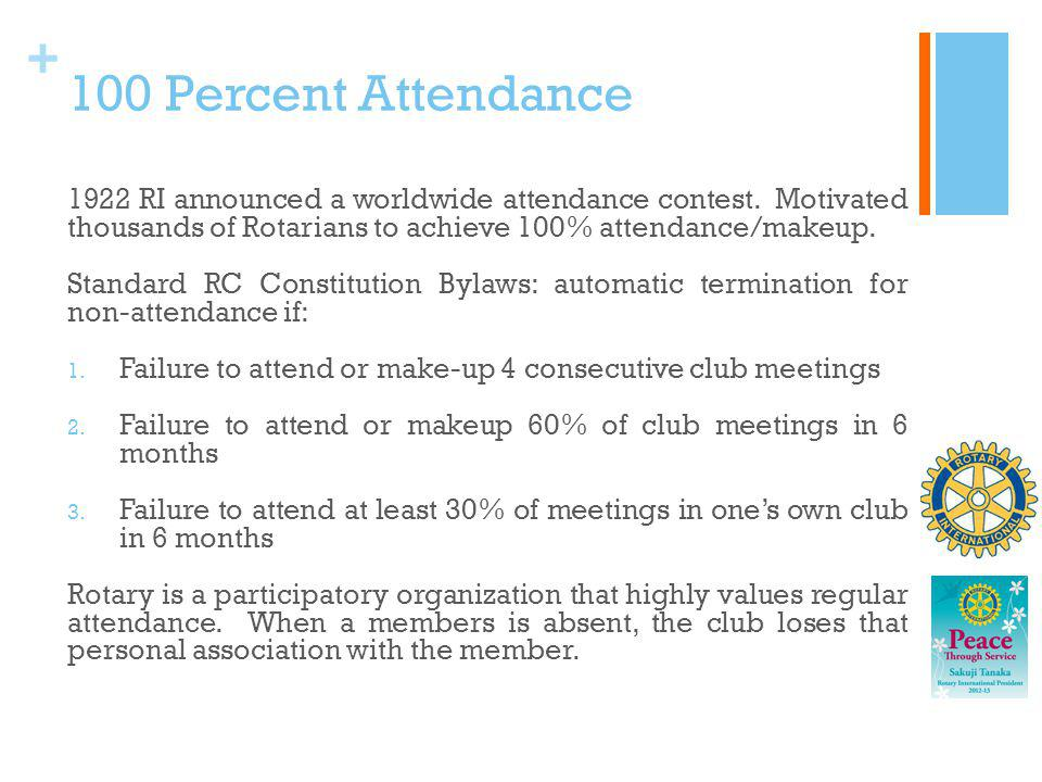 100 Percent Attendance 1922 RI announced a worldwide attendance contest. Motivated thousands of Rotarians to achieve 100% attendance/makeup.