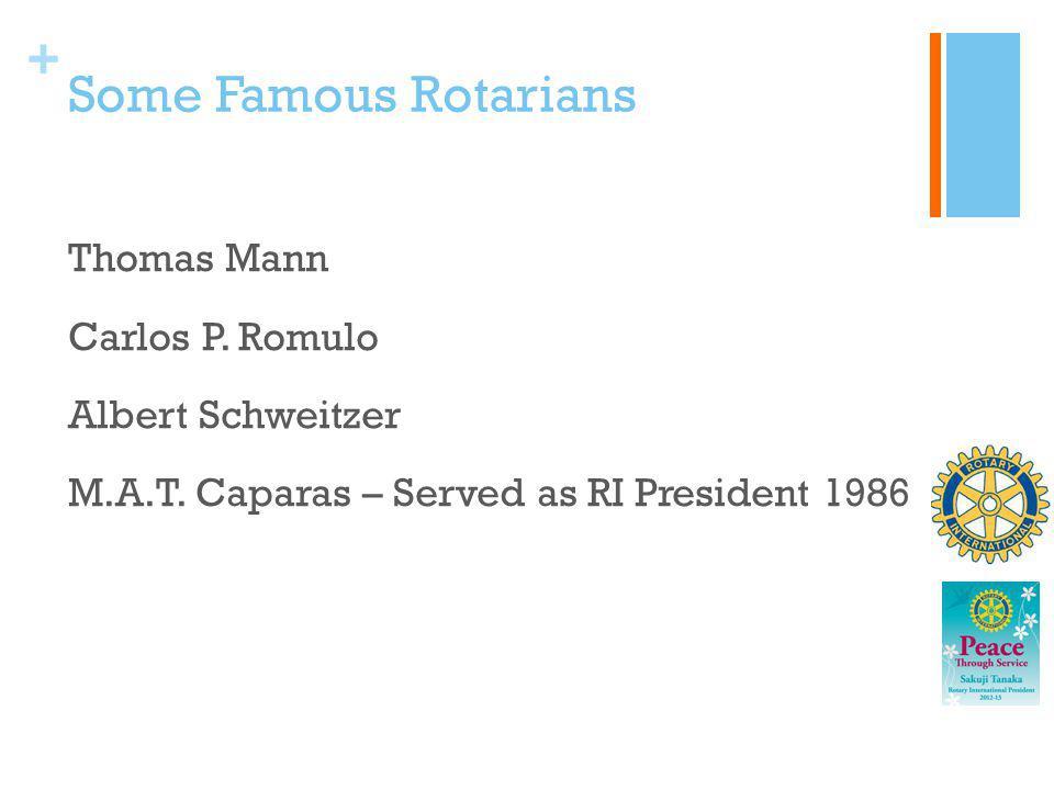 Some Famous Rotarians Thomas Mann Carlos P. Romulo Albert Schweitzer M.A.T.