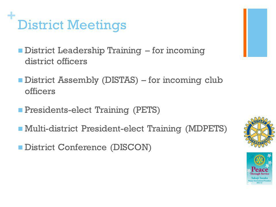 District Meetings District Leadership Training – for incoming district officers. District Assembly (DISTAS) – for incoming club officers.