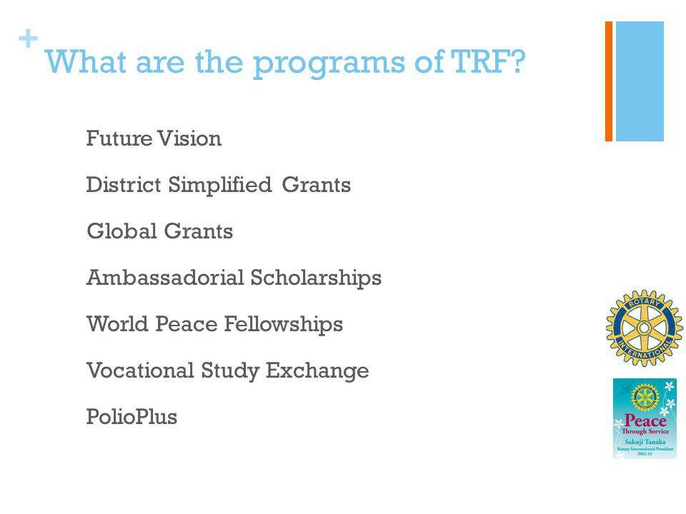 What are the programs of TRF