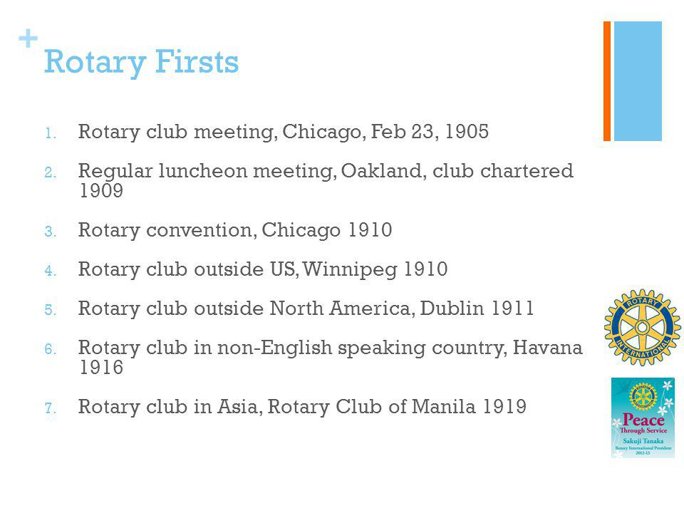 Rotary Firsts Rotary club meeting, Chicago, Feb 23, 1905