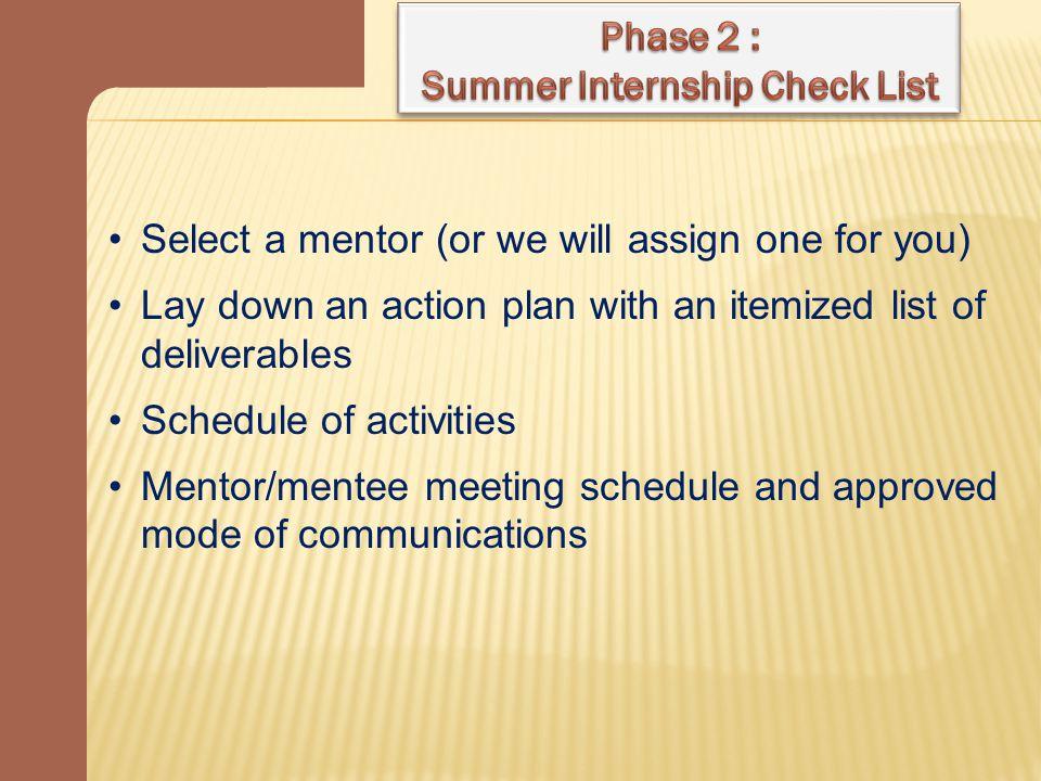 Summer Internship Check List