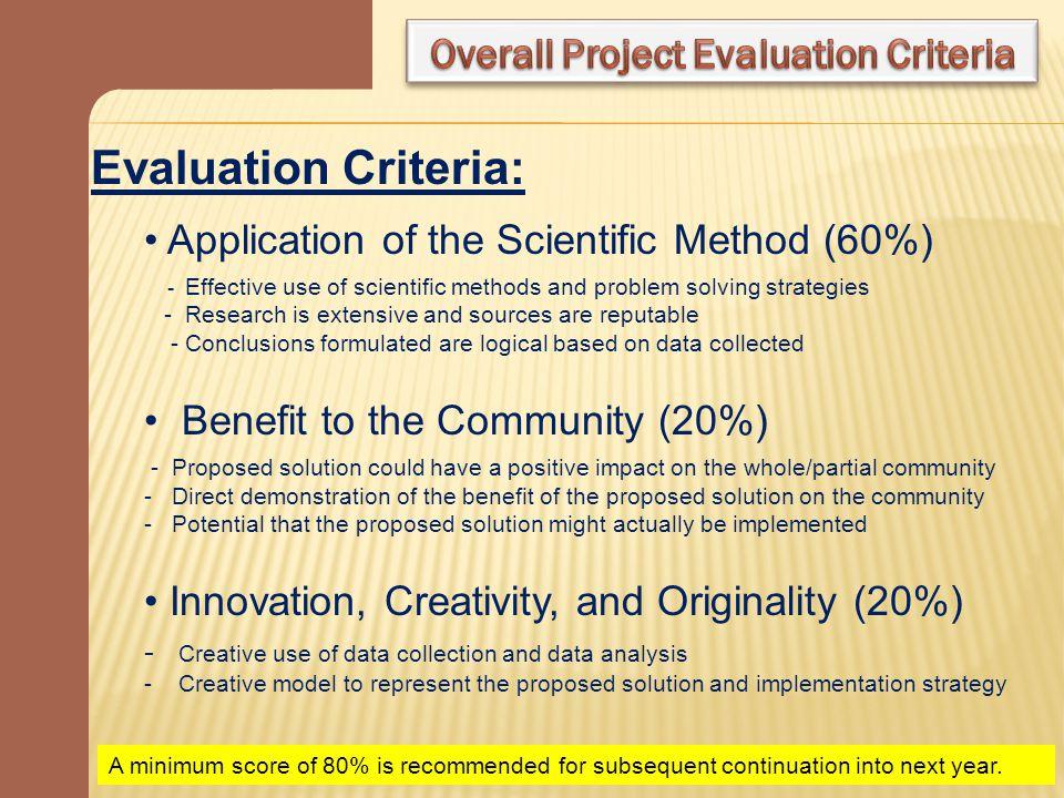 Overall Project Evaluation Criteria