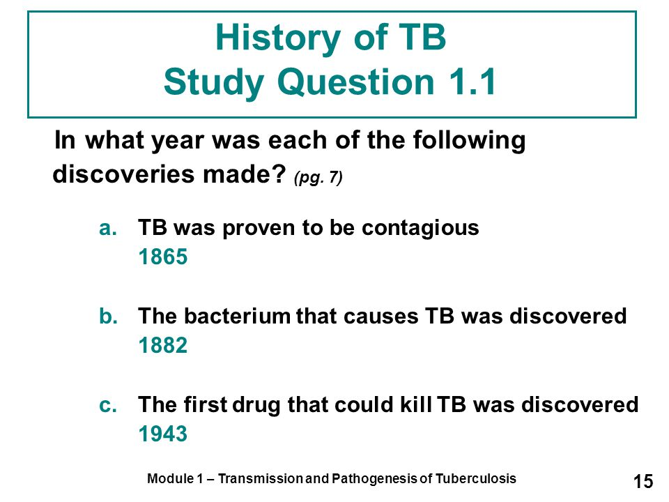 History of TB Study Question 1.1
