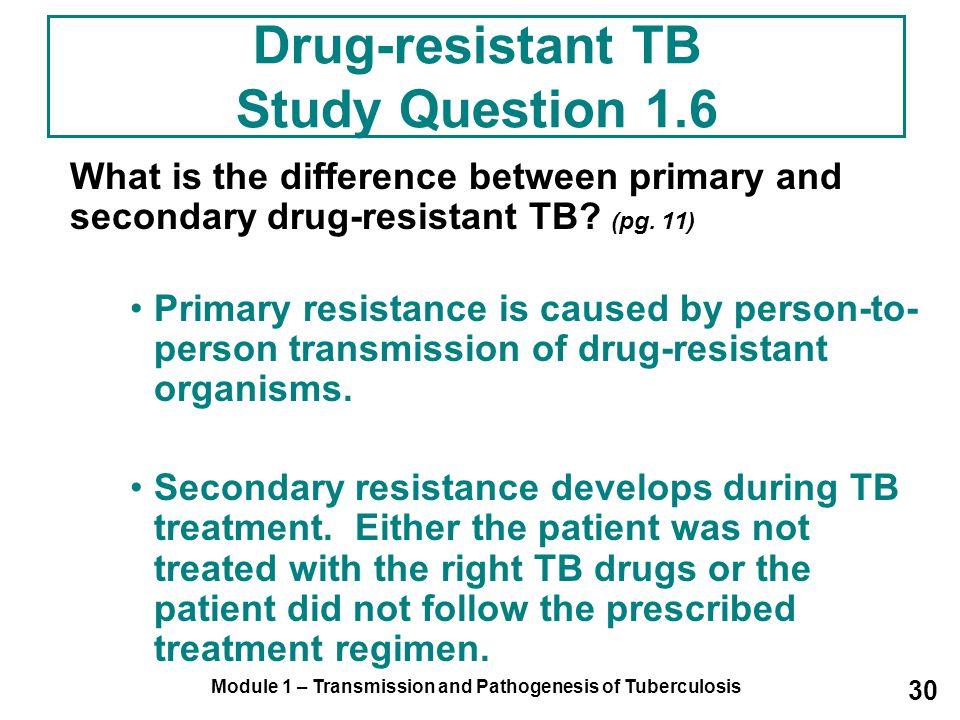 Drug-resistant TB Study Question 1.6