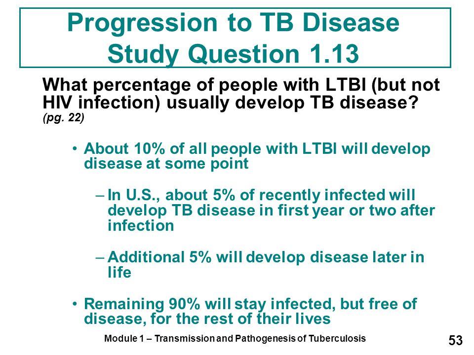 Progression to TB Disease Study Question 1.13