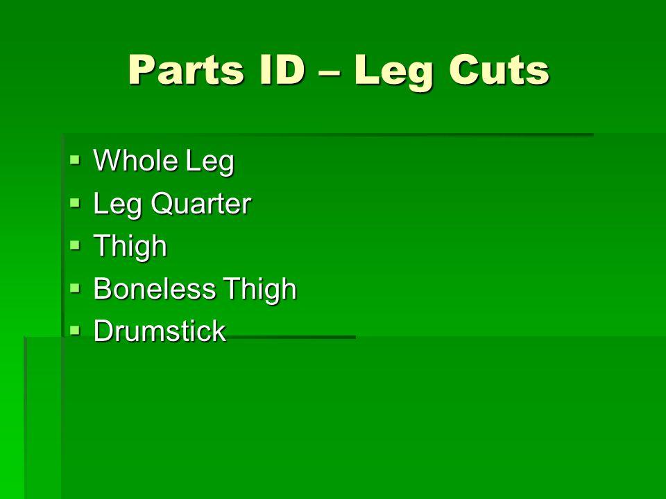 Parts ID – Leg Cuts Whole Leg Leg Quarter Thigh Boneless Thigh