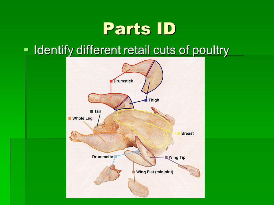 Parts ID Identify different retail cuts of poultry
