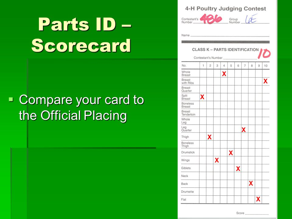 Parts ID – Scorecard Compare your card to the Official Placing X X X X