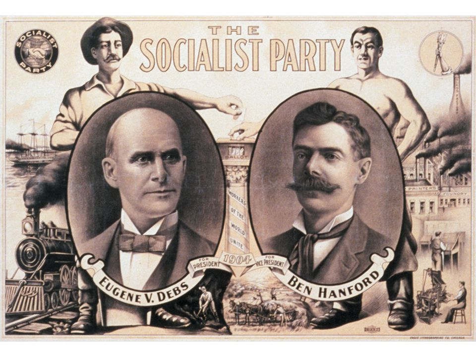fig18_16.jpg Page 692 (top): A Socialist Party campaign poster from 1904, with images of labor and technology and the party's candidates.